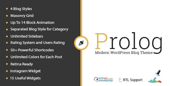 Prolog - Personal Creative Blog WordPress Theme          TFx