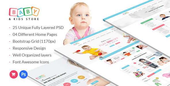 Baby & Kids Store eCommerce PSD Template            TFx
