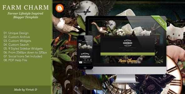 Farm Charm–Farm Village Style Blogger Template             TFx