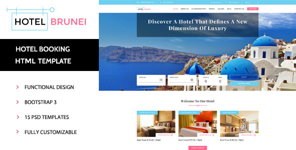 Hotel Brunei - Responsive Hotel Booking Template            TFx