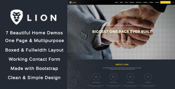 Lion - One Page - Multipurpose HTML Theme            TFx