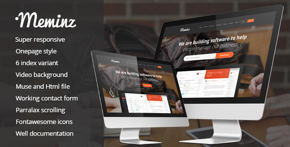 Meminz Download Software Landing Page Muse Template            TFx