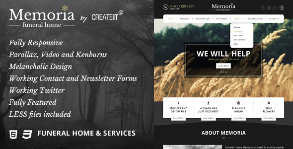 Memoria - Funeral Home HTML Template            TFx