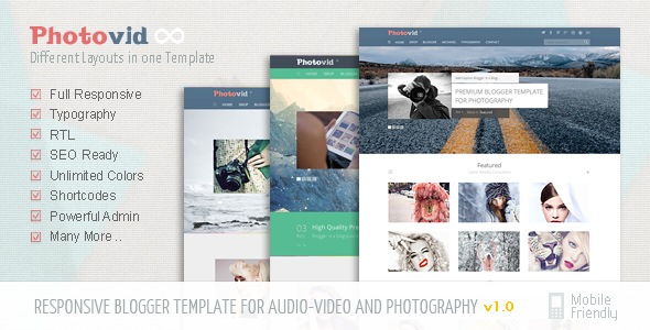 PhotoVid video and photography Blogger Template            TFx