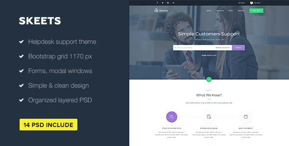 Skeets — Helpdesk and Knowledge Base PSD Template            TFx
