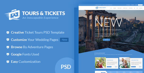 Tours & Tickets - Creative PSD Template            TFx