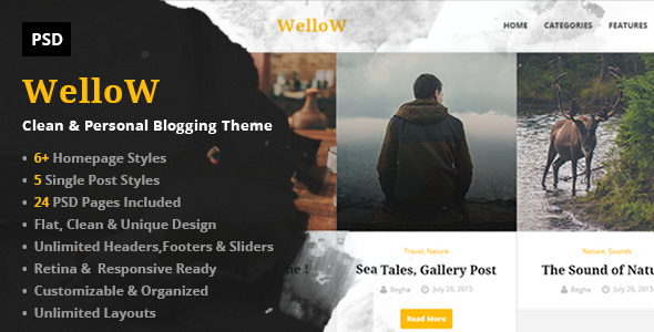 Wellow – Clean & Personal Blogging PSD Template            TFx