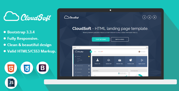 Cloud Soft - HTML Landing Page Template            TFx