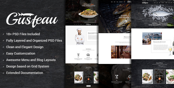 Gusteau – Elegant Food and Restaurant PSD Template            TFx