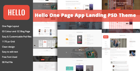 Hello - One Page App Landing PSD            TFx