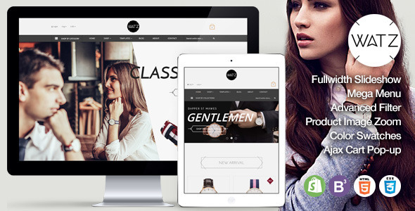 Watch Store Responsive Shopify Theme - WATZ            TFx