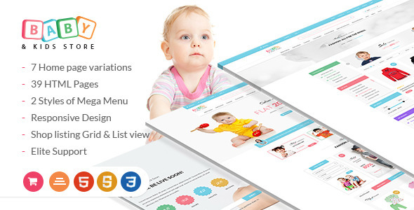 Baby & Kids Store eCommerce HTML Template            TFx