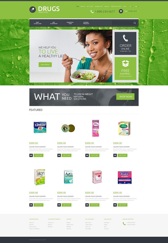Drug Store OsCommerce Template TMT