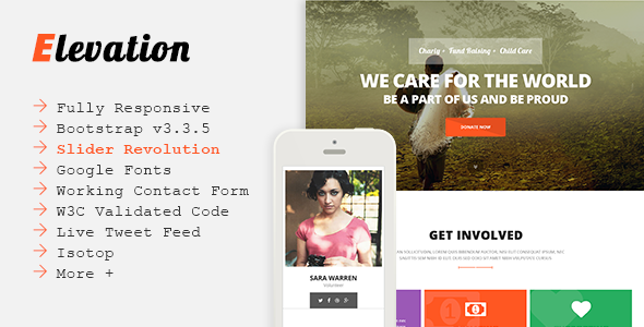 ELEVATION - Charity/Nonprofit/Fundrising Template            TFx