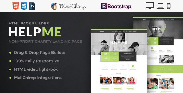 HelpMe - Nonprofit Landing Page Template With Page Builder            TFx