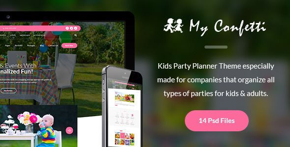 My Confetti - Kids Party Planner PSD Template            TFx