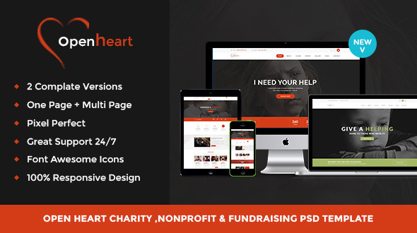 Open Heart - Charity & Nonprofit Psd Template            TFx