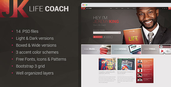 Life Coach - Personal page PSD template            TFx