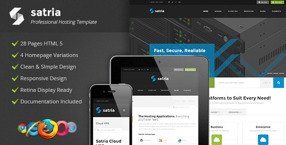 Satria - Professional Hosting HTML5 Template            TFx