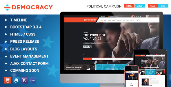 Democracy HTML5 - CSS3 Theme            TFx
