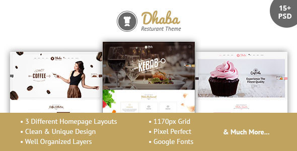 Dhaba - Restaurant, Coffee and Cake Shop PSD            TFx