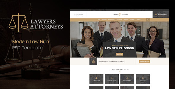 Lawyer Attorneys - Modern Law Firm PSD Template            TFx