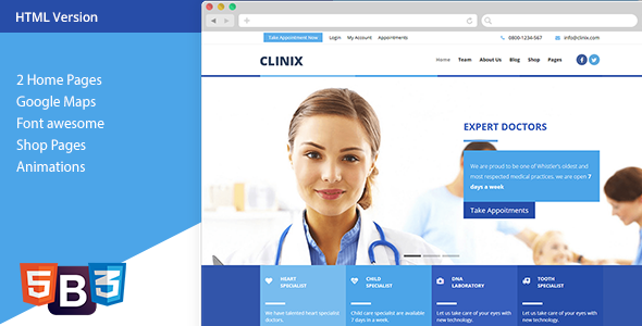 CLINIX - Medical HTML Template            TFx