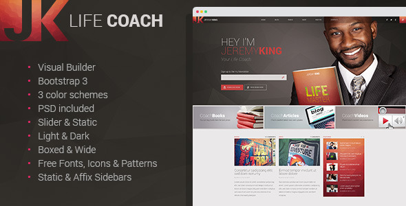 Life Coach - Multipage HTML Template with Visual Builder            TFx
