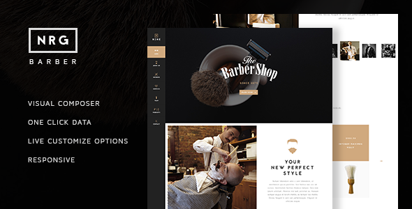 NRG Barber Shop - One Page Theme For Hair Salon            TFx