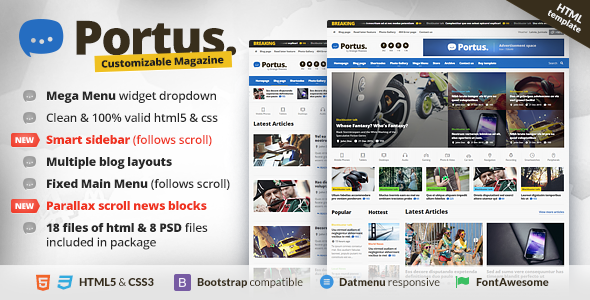Portus - Responsive Blog & Magazine HTML Theme            TFx