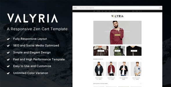 Valyria - A Responsive Zen Cart Template            TFx