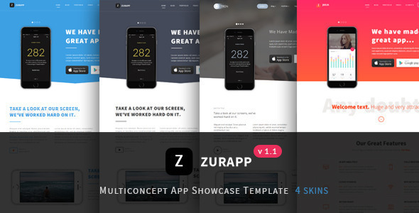 ZurApp - Multiconcept App Showcase Joomla Template            TFx