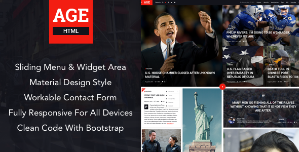 AGE - Material Design News/Magazine HTML Template            TFx