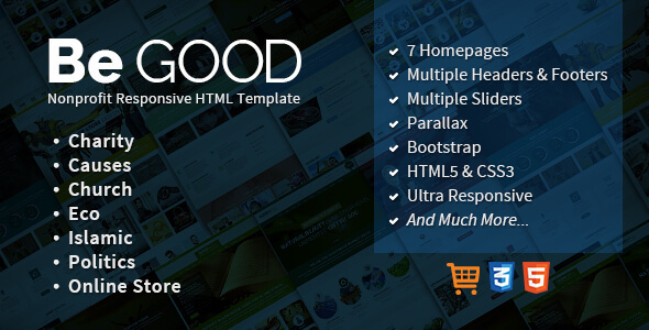 Be Good Nonprofit Multi-purpose Site Template            TFx