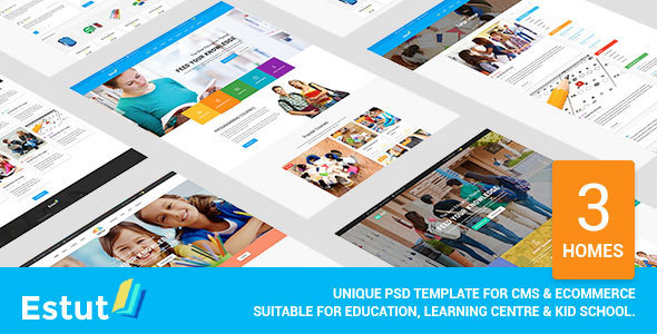 Estut - Unique Education, Learning Centre & Kid School PSD Template            TFx