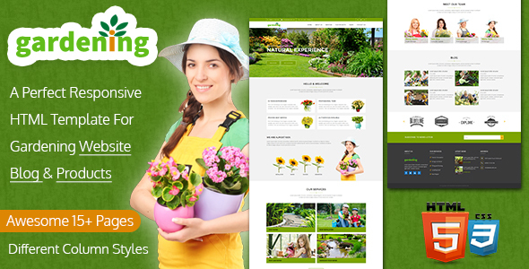 Gardening Website, Blog & Product HTML Template             TFx