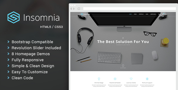 Insomnia - Beautiful and Modern HTML 5 / CSS 3 Corporate Template            TFx