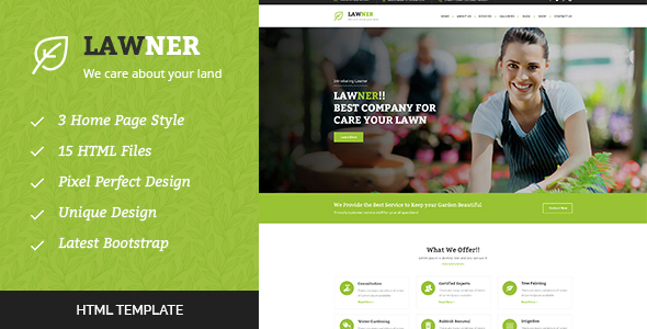 Lawner - Gardening and Landscaping HTML Template            TFx