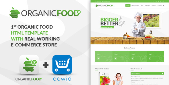 Organic Food - Kitchen, Farm, Corporate, Landing Page & E-commerce HTML Template            TFx