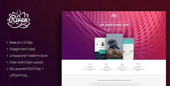 Riven - One Page App Landing PSD Template            TFx