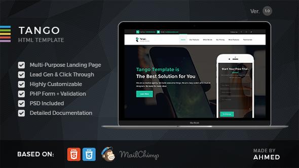 Tango - Responsive Multi-Purpose Landing Page            TFx