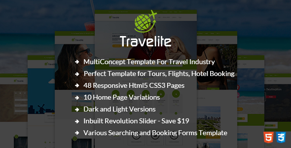 Travelite - Tours and Travels Booking HTML5 Template            TFx