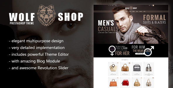 WOLF Multipurpose Responsive Prestashop Theme with Blog and Theme Editor            TFx