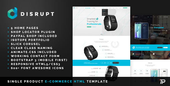 Disrupt - Single Product e-Commerce HTML Template            TFx