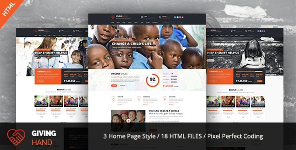 Giving Hand - Responsive HTML Template for Charity & Fund Raising            TFx
