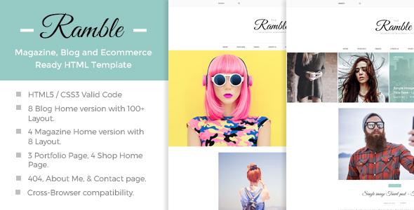 Ramble - Multi-Concept Blog, Magazine And Shop HTML Template             TFx