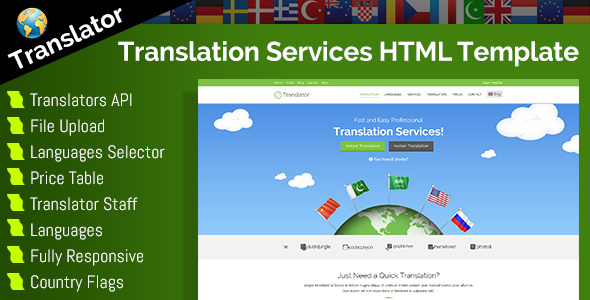Translator - HTML Website Template For Language Translation Services            TFx