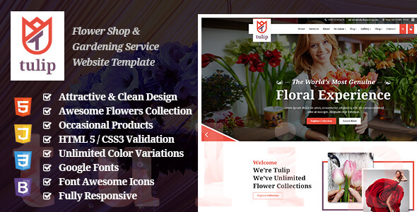 Tulip - Flower Shop & Gardening Service Website Template            TFx