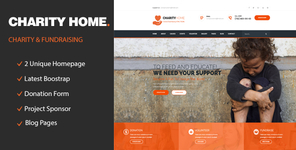 Charity Home - Responsive HTML Template for Charity & Fund Raising            TFx