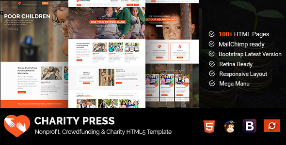 CharityPress - Nonprofit, Crowdfunding & Charity HTML5 Template            TFx